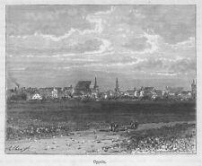Opole, Oppeln , Polen, Original-Holzstich von 1888