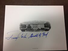GERALD FORD JIMMY CARTER WHITE HOUSE CARD SIGNED  AUTHENTIC GREAT  FAB
