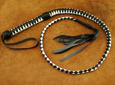 HEAVY DUTY BULLWHIP HUNTER WHITE AND BLACK PU LEATHER 4 FOOT LONG BRAND NEW(203
