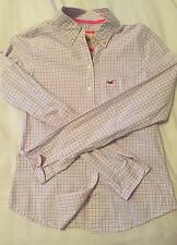 NWT Women's Hollister Bettys Pink/Blue Check button down Shirt, S