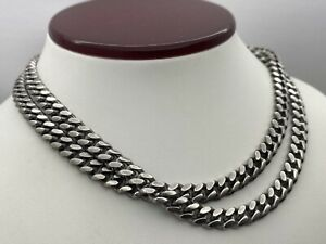 OLD Cuban Link Chain Handmade Necklace Sterling Silver 925