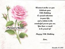 70th Birthday Gift, Or Any Age, Personalized Poem Gift, Pink Rose Print