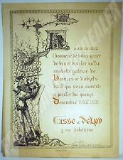 CARTON INVITATION 1881 CASSE & DELPY BRONZES & OBJETS D'ART gravure CHEVALIER