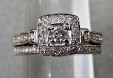 Diamond Engagement and Band 14k White Gold size 7