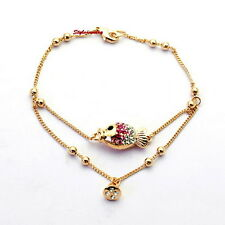 Rose Gold Plated Women Pink Fish Chain Bracelet Made With Swarovski Crystal T17