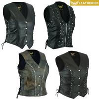 Real Leather Vest Ladies Braided/Studded/Punk/Distressed Motorcycle Bikers Black