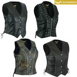 Women Real Leather Vest Braided/Studded/Punk/Distressed Motorcycle Bikers Black