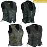 Real Leather Vest Ladies Braided/Studded/Punk/Distressed Motorcycle Bikers Black