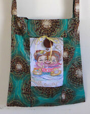 Bag Cotton Purse Handmade Art Quilted16x19 inch Greens tote+embroidery  1 handel