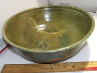 "11"" HANDCRAFTED GREEN & BROWN STONEWARE ART POTTERY BOWL SIGNED MARCO BROWN"