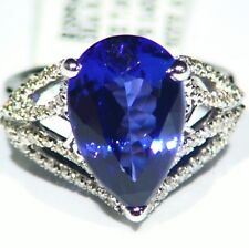7.66CT 14K Gold Natural Tanzanite White Diamond Vintage AAA Engagement Ring Deco