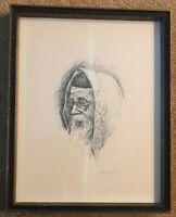 IRVING SHAPIRO AWS Signed Rabbi PRINT 1973 Sketch FRAMED American ARTIST Chicago