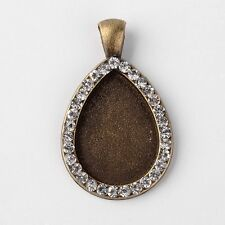 Tibetan Style Alloy Pendant Cabochon Setting with Rhinestones, Antique Bronze