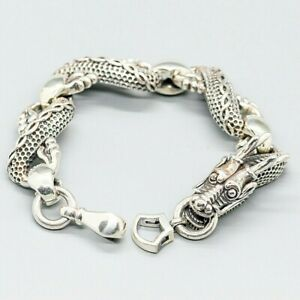Chinese Dragon 925 silver unisex bracelet bangle biker gothic rock myth