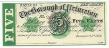 5 Cents 1862 New Jersey Borough Princeton Christmas Day Green Overprint #2114
