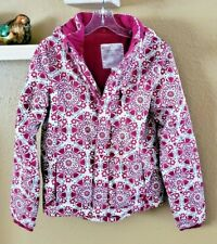 Garnet Hill Kids Girl's Pink & Purple Floral Hooded Puffy Coat XL or Size 12
