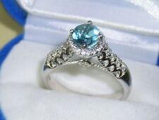 Blau Topas Silber Solitär Ring massiv vergoldet
