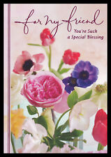 096-Gc Flower *For My Friend* Birthday Greeting Card *Rose Pink Accent* Hallmark