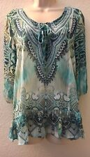 Style & Co Blouse Sheer Printed Top Blue Chiffon Womens Small