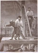 Gravure Etching Incisione Féval Mystères de Londres PHILIPPOTEAUX; V. MOCQUET