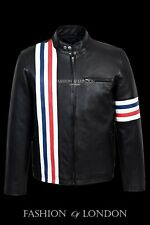 Men's EASY RIDER Black AMERICA Motorcycle Stripes Lambskin Leather Jacket