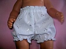 """BJB dolls clothes White embroidery anglais knickers pants fit 18"""" baby born doll"""