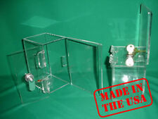 Strong Acrylic Fundraising Donation Box with Lock and Keys A