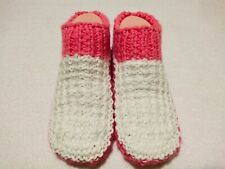 Womens Knitted White Pink Cozy Mixed Wool Slippers Handmade Shoes