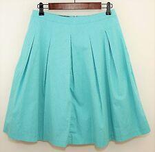 TALBOTS Teal Blue & White POLKA DOT Pleated Skirt - Knee Length Lined - SIZE 4 P