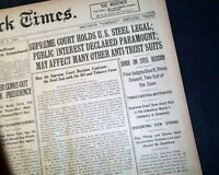 UNITED STATES V. U.S. STEEL CORPORATION Supreme Court Decision 1920 Newspaper