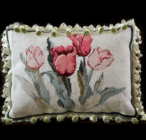 Needlepoint Pillow Cover | Red & Pink Tulips Lumbar Crystal Beaded Fringe 11x15