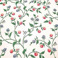 Vintage Wallpaper Summerfield Berries Pink and Blue Vines Floral
