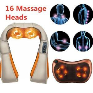 Neck Massager Pillow Shiatsu Massage Electric Heat Back Shoulder Cushion Machine
