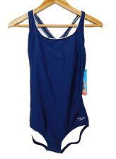 New listing Speedo Women's XXL Swimsuit One Piece Navy Blue Built In Cups Back Detail 2XL
