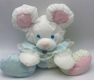 Vintage Fisher Price Puffalump Baby Mouse Bear Plush Rattle 80s White Pink Blue