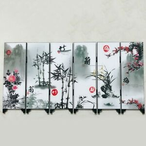 .6-Panel Screen Flower Bamboo Pattern Room Divider Furniture Folding Partition.