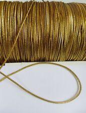 2 MM Metallic Gold Stretch Elastic Tiny Cord / Tape / Wrap - 5 Yards-T1023G