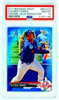 2017 Bowman Chrome Draft Gleyber Torres Rookie RC BLUE REFRACTOR 111/150 PSA 10!