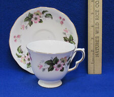 Queen Anne Tea Cup & Saucer Plate Bone China England Pink Yellow Floral Flowers