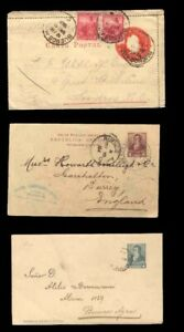 (T0095) ARGENTINA - 3 DIFF 1900 USED POSTAL STATIONERY TO ENGLAND, BUENOS AIRES
