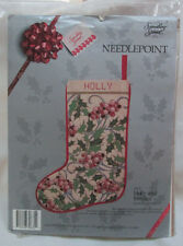 Vntg Candamar Needlepoint Christmas Stocking Holly & Berries Something Special