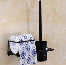 Toilet Brush Set Black Stainless Steel Holder Shelf Wall Mounted Bathroom Clean