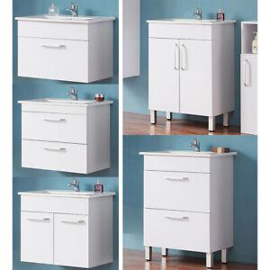 Badmöbel Waschbecken mit Unterschrank 60 cm Weiß Waschtisch Keramik Waschbecken