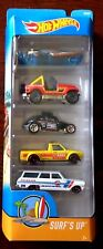 HOT WHEELS SURF'S UP 5 PACK - NEW IN BOX -JEEP, VW, CHEVY  etc METAL CARS
