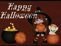 """Happy Halloween""-""Little Girl w/3 Small Pumpkins""  {Postcard}  (V-23)"