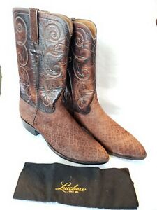 EXOTIC 1883 LUCCHESE RARE SAFARI BOOTS DISTRESSED BROWN LEATHER HANDMADE 10.5D