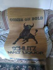 Vintage 1970's Schlitz Malt Liquor woven grass wall mat/sign used