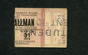 Original 1974 Gregg Allman concert ticket stub Tennessee Laid Back