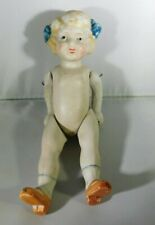 """Bisque doll with red shoes blue bow Made in Japan 7"""" Tall Pin Jointed"""