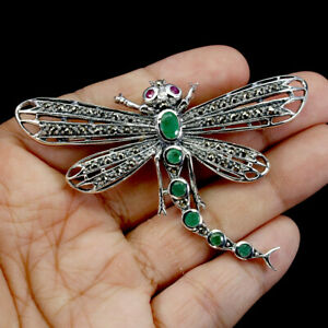 Unheated Oval Emerald 6x4mm Marcasite Ruby 925 Sterling Silver Dragonfly Brooch